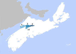 Minas Basin - Map showing: (1) Minas Channel, (2) Central Minas Basin, (3) Cobequid Bay, (4) Southern Bight