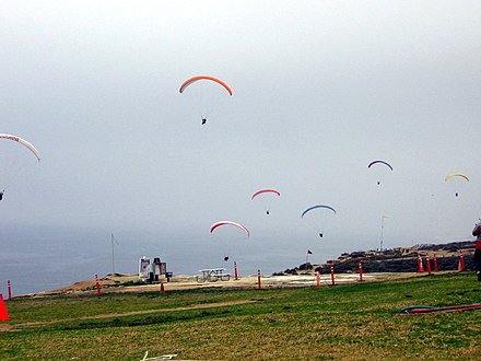 Paragliders in the air at Torrey Pines Gliderport Paragliding3.jpg