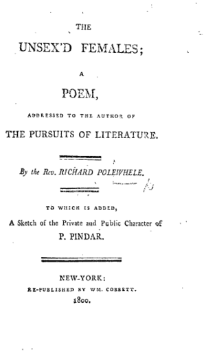 The Unsex'd Females - Title page from the 1800 New York edition