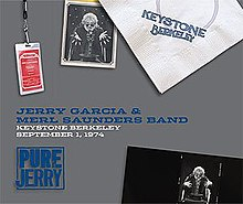 A Keystone Berkeley napkin, two photos of Jerry Garcia as a stage magician conjuring a guitar from out of a hat, and a backstage pass for the Jerry Garcia Band