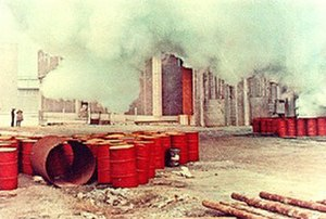 "Red Desert (film) - Screenshot from the film: ""My intention..."" said Antonioni, ""was to translate the poetry of the world, in which even factories can be beautiful."""