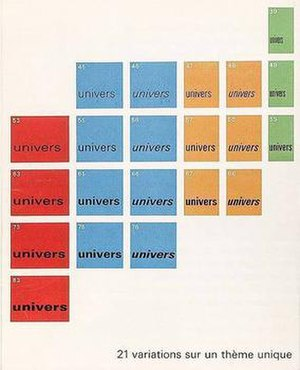 Univers - Rémy Peignot's Univers graphic emphasised the family's scope through referencing the periodic table.