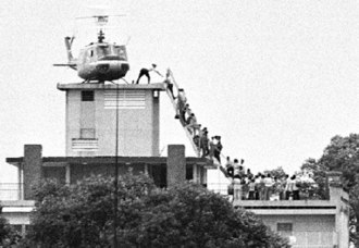 22 Gia Long Street - One of several evacuations by helicopter from 22 Gia Long Street on 29 April, 1975. Photographed by Hubert van Es, working for UPI.