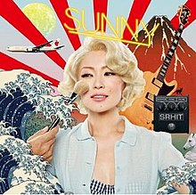 A woman has powder make-up applied to her face as she is surrounded by ukiyoe imagery, an airplane and a guitar.