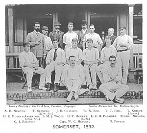 Herbie Hewett - Hewett (seated, third from the left) with the Somerset team of 1892
