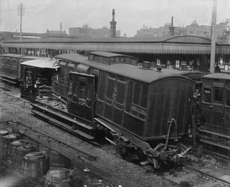 1898 St Johns rail accident - The damaged carriages in the siding next to St Johns Station