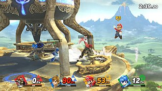 "Super Smash Bros. - Ganon, Link, Mario and Mega Man battle on the ""Great Plateau"" stage, based on the location from The Legend of Zelda: Breath of the Wild."
