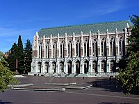 Suzzallo Library looking east across Red Square