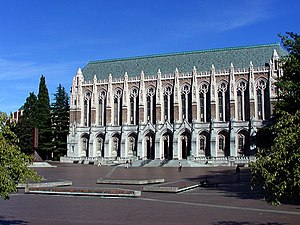 Red Square (University of Washington) - Suzzallo Library, looking east across Red Square