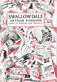 Typical cover art depicting a montage of Arthur Ransome's own illustrations from the book