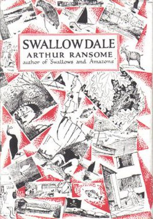 Swallowdale - Typical cover art depicting a montage of Arthur Ransome's own illustrations from the book
