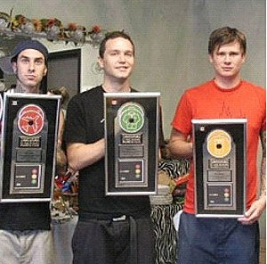 "Take Off Your Pants and Jacket - Blink-182 presented with their Canadian double platinum plaques for ""Take Off Your Pants and Jacket""."