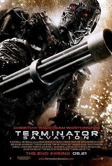 A skeleton-like machine with bright red eyes holding a gun in the background. Below it are the credits, tagline and title.