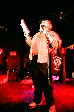 Thax Douglas reads a poem at The Note, Chicago, December 27, 2007