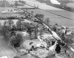 Wormshill - Aerial view of The Street taken on 16 April 1948. The rectory is in the foreground.