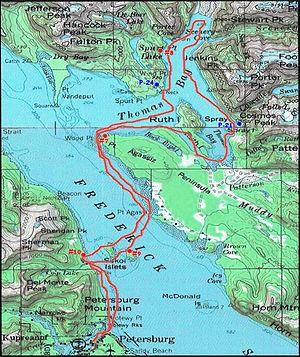 Thomas Bay - A kayak route passing through Thomas Bay, Alaska