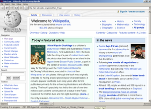 Hv3 using Tkhtml to render the Wikipedia front page