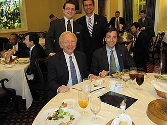 Puerto Rico Statehood Students Association - Former PRSSA President Raúl Vidal y Sepulveda, Resident Commissioner Pedro Pierluisi, Senator Joe Lieberman and Governor Luis Fortuño at a lunch in the Senate Members Dining Room discussing HR 2499.