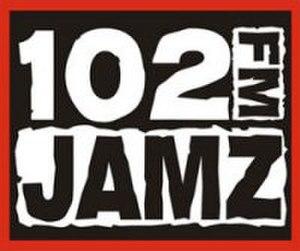"WQMP - WJHM's logo under previous ""102 JAMZ"" branding"