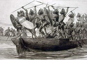 African military systems (1800–1900) - Bigger war canoe tactics separated fighting men from rowing specialists, whether using muskets or traditional spears.