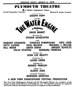The Water Engine - Image: Water Engine Playbill Plymouth 1978