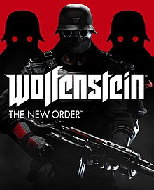 "The game's cover art. The text ""Wolfenstein"" is in the centre, with the text ""The New Order"" written underneath it, aligned to the left. Behind the text is an enemy soldier, holding a gun in his hands."