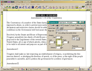 IBM Lotus SmartSuite - Lotus WordPro screenshot, showing the Page layout InfoBox, a menu tool common to all the SmartSuite programs.