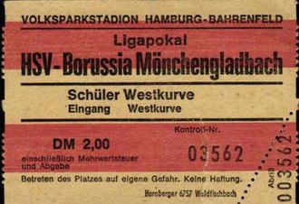 1973 DFB-Ligapokal Final - Ticket from the match.