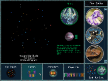 A square interface depicted the player's selection of species, star density, number of opponents and political atmosphere.