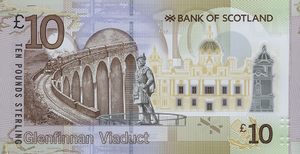 Bank of Scotland £10 note - Image: BOS Polymer £10 Back