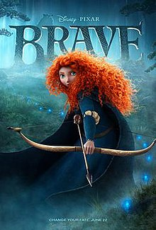 A girl with long, curly red hair stares at the viewer holding a bow and an arrow. Behind her is the film's title while at the left shows a bear staring at her.