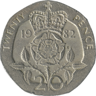 Twenty pence (British coin) - Original reverse: 1982–2008