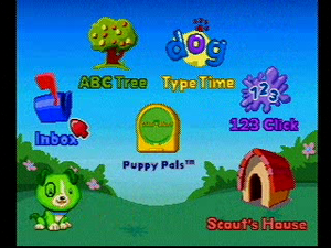 ClickStart - Screenshot of the ClickStart main menu, with Scout on the bottom-left corner of the screen. The Scout's Puppy Pals cartridge is present on the console.