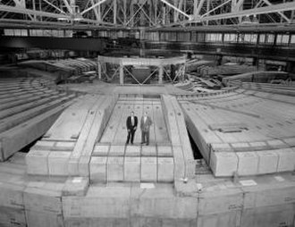 Bevatron - Edwin McMillan and Edward Lofgren on the shielding of the Bevatron.  The shielding was only added later, after initial operations.