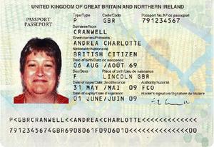 British emergency passport - The biodata page of a British emergency passport