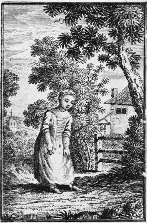 The History of Little Goody Two-Shoes - A woodcut of the eponymous Goody Two-Shoes from the 1768 edition of the novel