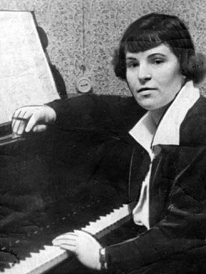 Galina Ustvolskaya - Galina Ustvolskaya in front of a piano