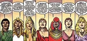 Themyscira (DC Comics) - The Olympian and Bana-Mighdallian goddesses each bless Themyscira as it is rejuvenated. Art by Phil Jimenez.
