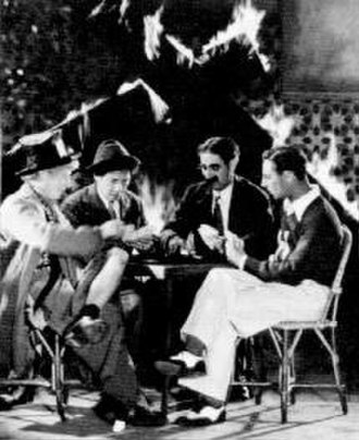 Horse Feathers - In this now lost, deleted scene from Horse Feathers, the Marx Brothers are seen playing poker as Huxley College goes up in flames around them