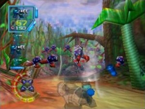 Jet Force Gemini - While in aiming mode, the player character is translucent and a crosshair is visible. Health and ammunition information is displayed on the left side of the screen.