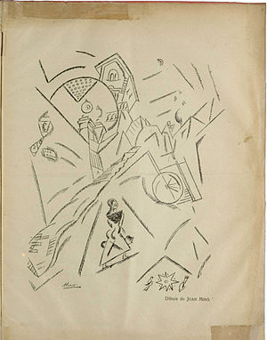 Joan Miró - Joan Miró, Carrer de Pedralbes, drawing, published in Troços, Segona sèrie, N. 4, March 1918
