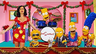 The Fight Before Christmas - Katy Perry appears alongside puppet versions of Simpsons characters in a live-action segment in the episode.