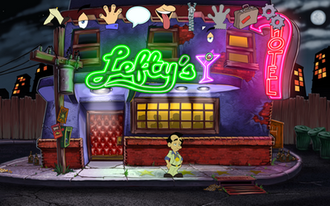 Leisure Suit Larry: Reloaded - A screenshot showing the game's starting location and its user interface