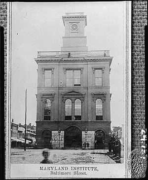 "Maryland Institute College of Art - ""The Maryland Institute"", above the old ""Centre Market"" on Market Place between East Baltimore Street and Water Street, east of South Frederick Street and west of the Jones Falls stream, home of M.I., 1851–1904"