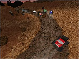 "Monster Truck Madness 2 - Trucks racing on ""Tinhorn Junction"" track"