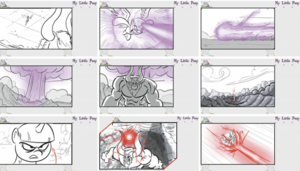 "My Little Pony: Friendship Is Magic - A sample storyboard from the episode ""Call of the Cutie"", containing pencil sketches of the main characters, rendered backgrounds to establish settings, and instructions for the Flash animators, such as the panning shot shown in the second panel"