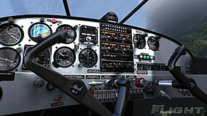 Microsoft Flight - A screenshot of Flight released by Microsoft, showing the new lighting/shadowing capabilities of the engine in the aircraft virtual cockpit.