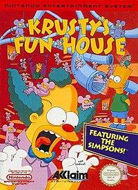 North American box art of Krusty's Fun House (NES version)