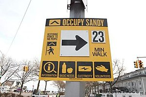 Occupy Sandy - Image: Occupy Sandy wayfinding sign