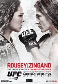A poster or logo for UFC 184: Rousey vs. Zingano.